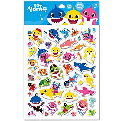 Pinkfong Baby Shark Soft Stickers 43 Piece -11x8.6 inch: Kitchen & Dining