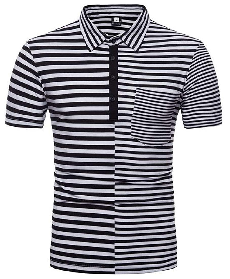 Domple Men Casual Pockets Stitching Short Sleeve Stripe Print Polo Shirts