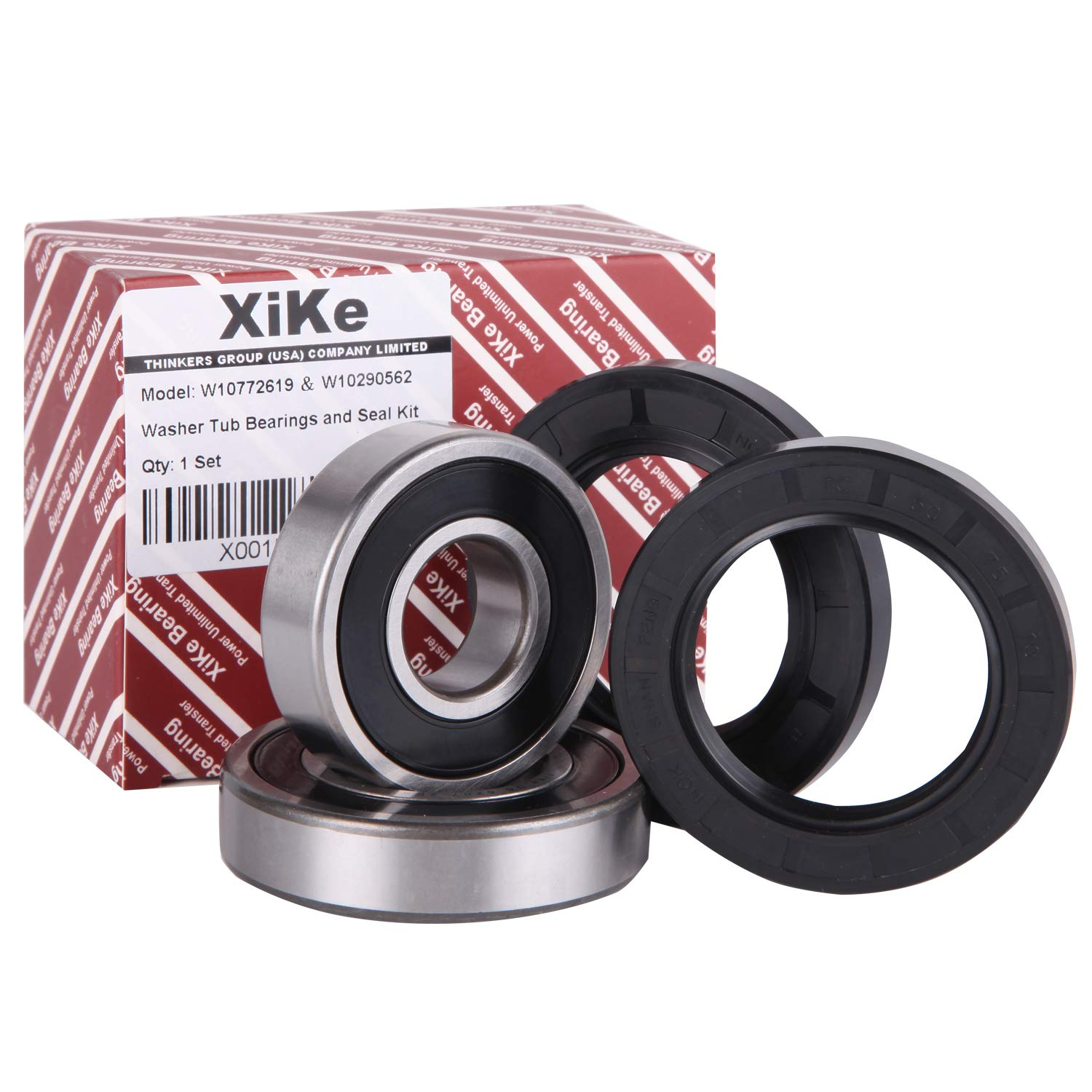 XiKe W10772619, W10290562 and W10283358 Front Load Washer Tub Bearing and Seal Kit, Rotate Quiet and Durable Replacement for Whirlpool and Maytag Etc.