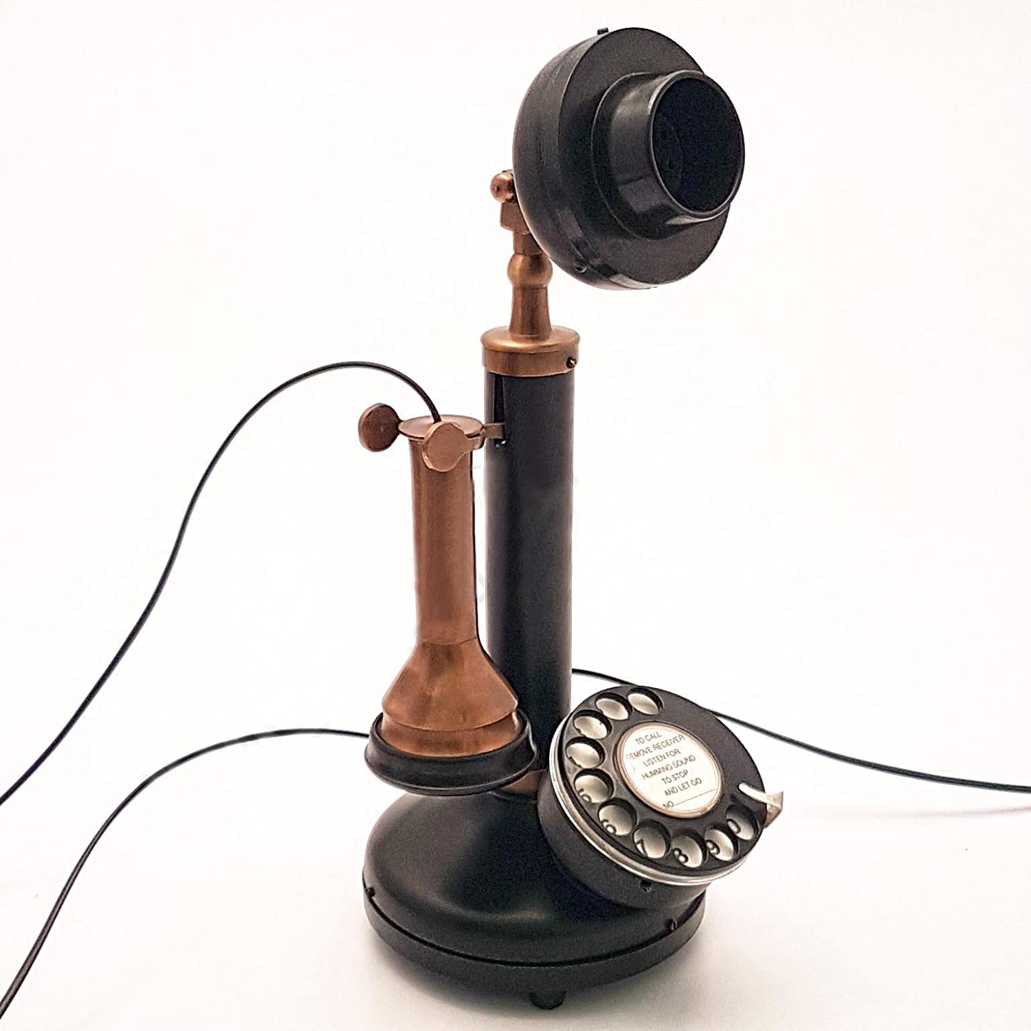 Decor Art International Classic Antique Replica Brass & Iron Rotary Dial Candlestick Working Telephone. Handmade