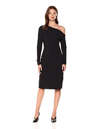 Susana Monaco Women's Leila One Shoulded Long Sleeve Dress, Black, XS