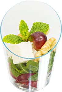 Open Cut Slanted Round Dessert Cups - 3 ounce - 40 Count -Spoons Included-Clear Plastic-Slanted Cylinder Mini Dessert Cup- Appetizer Cup-Sample Shot Glass -Disposable
