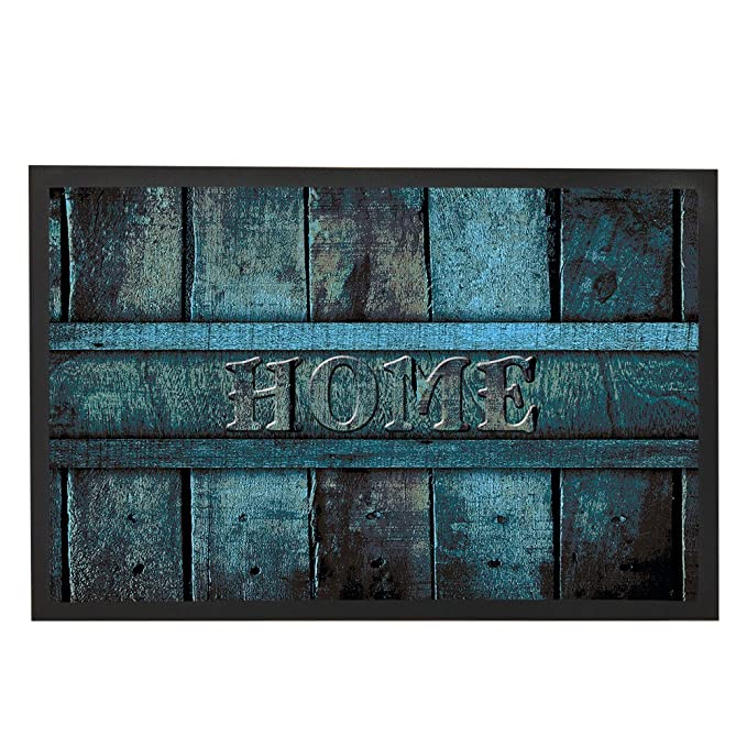 Antique Teal Blue Wood Decor Door Mats Front Floor Mat Welcome Family Home Door  Rug Inside