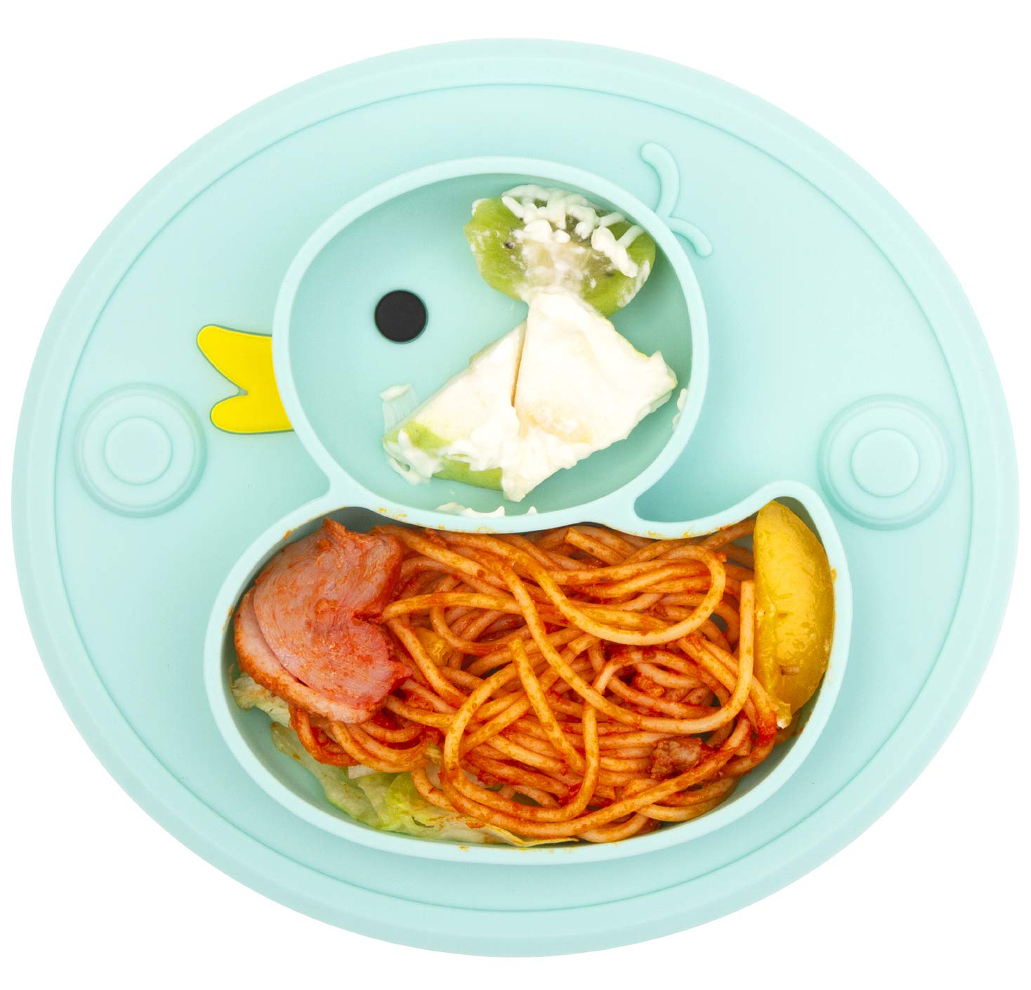 Lightening Corp Baby Plate Silicone Toddler Plates Suction Placemat Divided Duck Dishes for Kids and Infants One-Piece Strong Suction, BPA Free, Microwave Dishwasher Safe