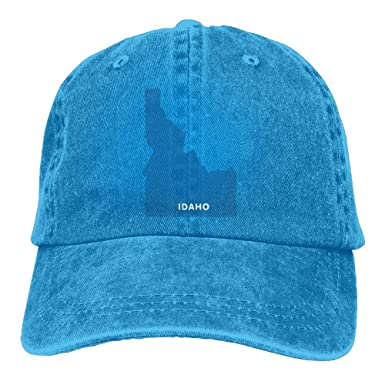 ASKYE Sports Denim Cap Idaho Map Men Women Baseball Cap Polo Style ...