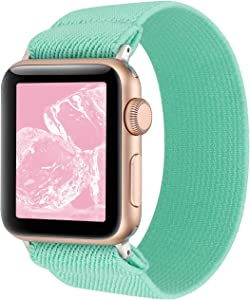 YOSWAN Stretchy Loop Strap Compatible for Apple Watch Band 40mm 38mm 44mm 42mm iWatch Series 6/5/4/3/2/1 Stretch Elastics Wristbelt (Turquoise Green, 38mm/40mm)