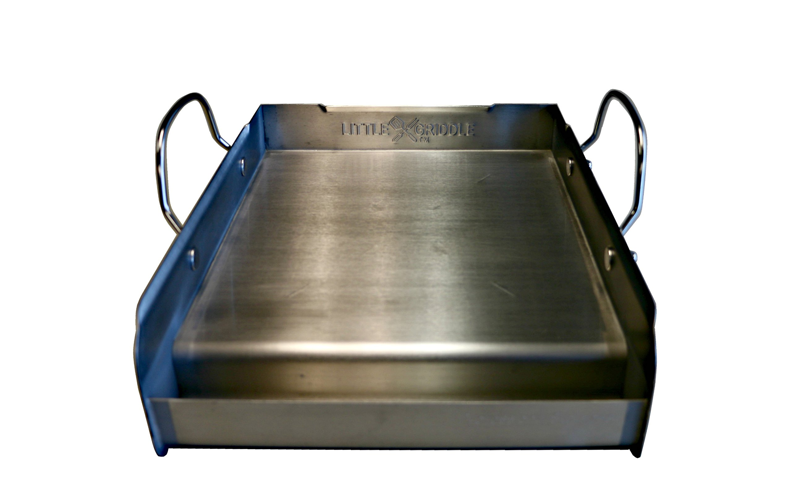 Little Griddle GQ120 100% Stainless Steel Medium-Sized Professional Griddle with Even Heating Bracing and Removable Handles for Charcoal/Gas Grills, Camping, Tailgating, and Parties (14''x16''x6.5'')