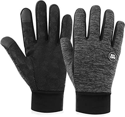 Black a gray thermal gloves on white background