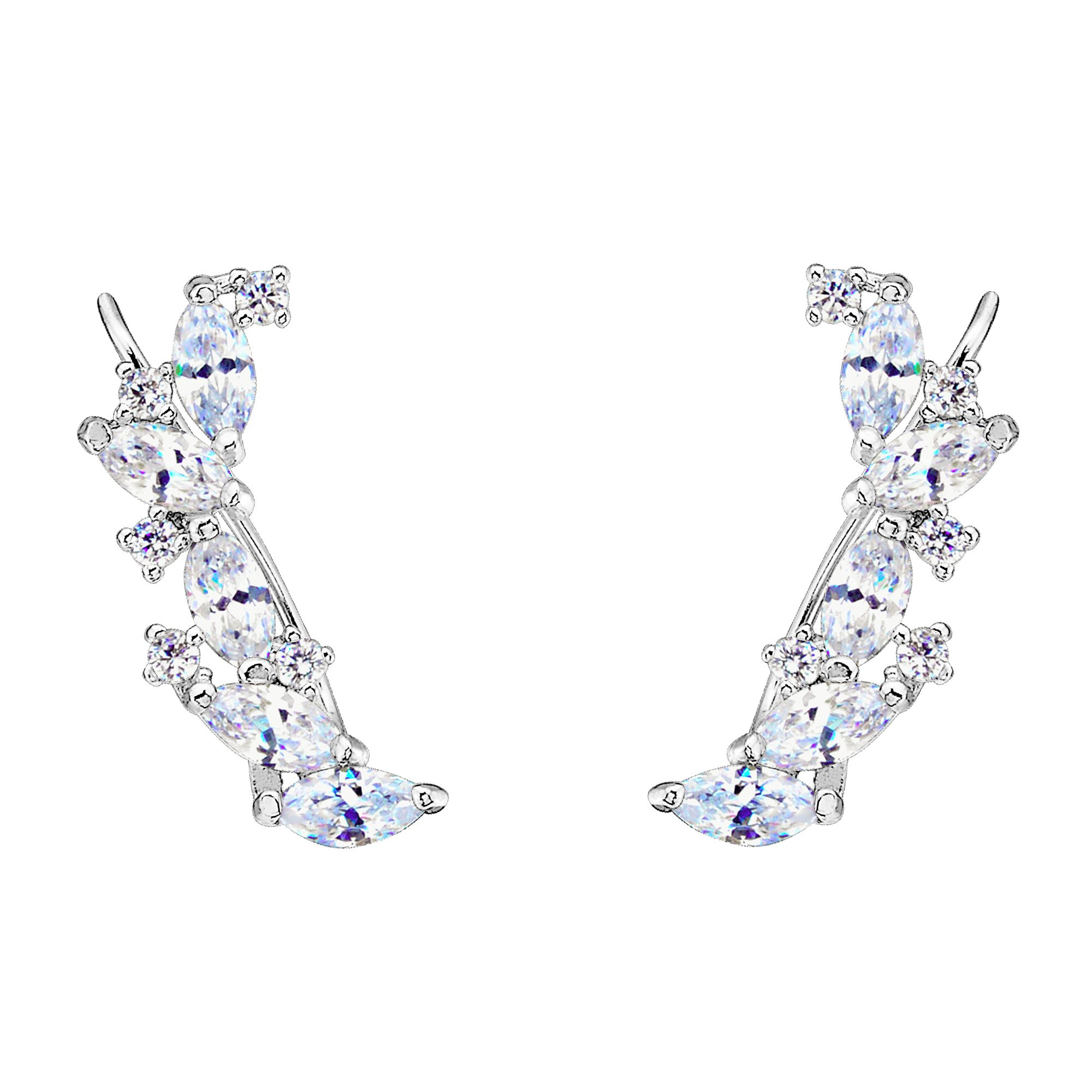 EVER FAITH 925 Sterling Silver Cubic Zirconia Elegant Ear Cuff Wire Wrap Sweep Hook Earrings Clear 1 Pair