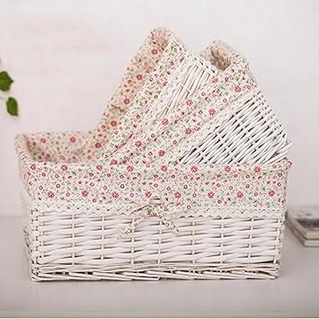 Cesta de almacenamiento blanca de control remoto cesta de almacenamiento de mimbre cesta pequeña combinación de cesta de almacenamiento combinación de cesta de fruta (Size : 40*30*18cm) : Amazon.es: Bricolaje y herramientas