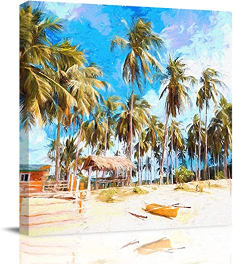 Amazon Com Queenker Canvas Print Wall Art For Home Living Room Bedroom Decor Boracay Beach Scenery Philippines Oil Painting Artwork On Canvas Stretched And Framed Ready To Hang 16x16in Posters Prints