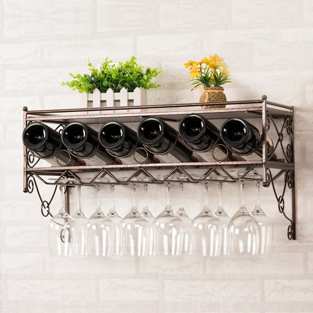 JU FU Wine Rack Steel+Solid Wood Wall-Mounted Copper Multi-Replacement No Assembly Required Suitable for Glass On The Market Easy to Install Strong Bearing Capacity @@