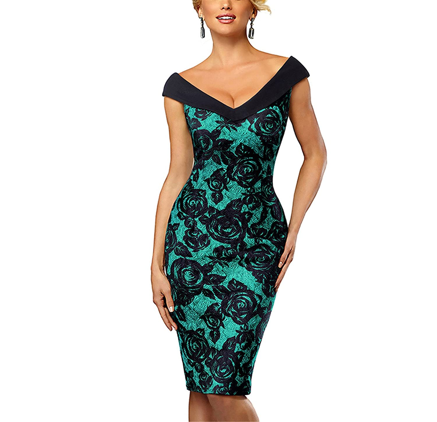Suppliesed Nice-Forever Vintage contraste Color Flor Elegante at Amazon Womens Clothing store: