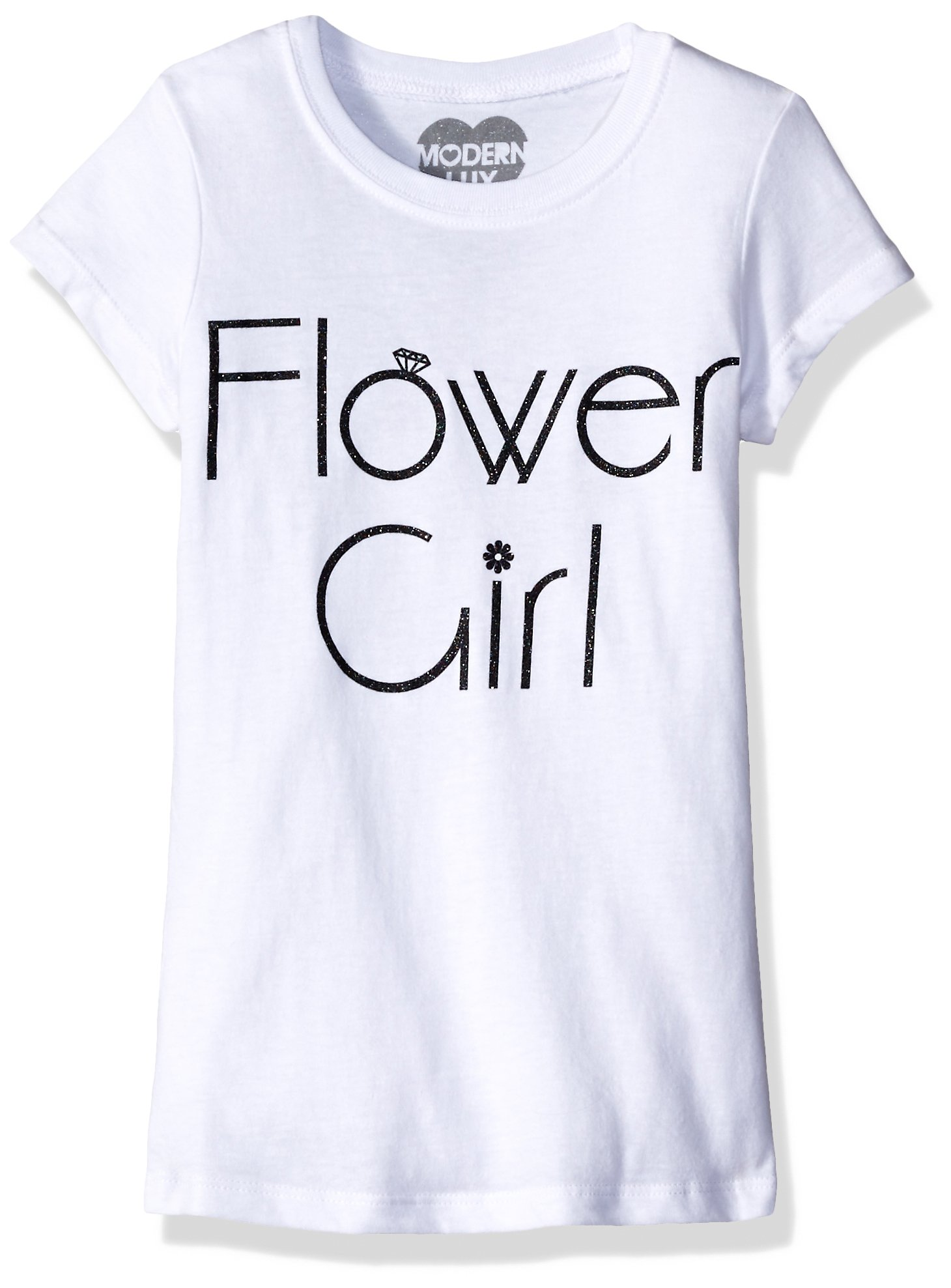Jerry Leigh Girls' Flower Girl T-Shirt Shirt, White, Xs4/5 by Jerry Leigh
