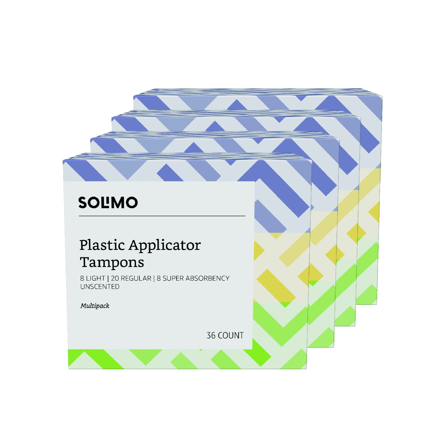 Amazon Brand - Solimo Plastic Applicator Tampons, Multipack, Light/Regular/Super Absorbency, Unscented, 144 Count