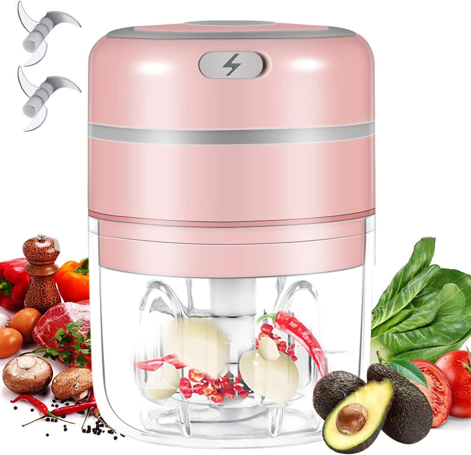 Electric Mini Food Chopper, Wireless Food Slicer and Electric Food Dicers, Garlic Masher with Improved Assembly Portable Garlic Blender with 8.5 ounces Rechargeable for Pepper Vegetable Meat Chili