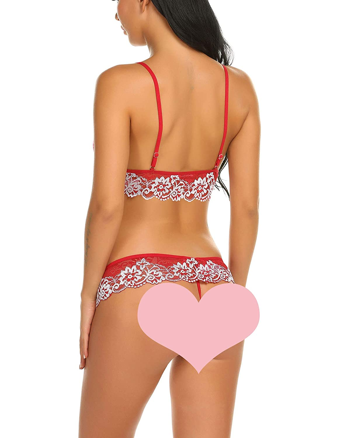 2321e5e321 Hotouch Womens Bra and Panty Set 2 Piece Lace Lingerie Set Bralette Babydoll  with Cute Bowknot