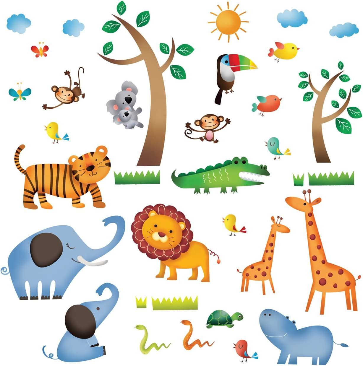 Decowall Dw 1206 Wild Jungle Animals Kids Wall Stickers Wall Decals Peel And Stick Removable Wall Stickers For Kids Nursery Bedroom Living Room Amazon Co Uk Baby