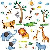Decowall DW-1206 - Adesivi murali con Animali della giungla selvaggia per la camera dei bambini