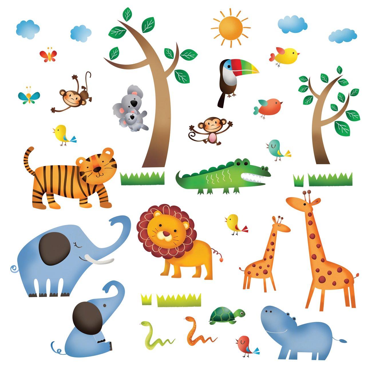 Decowall DS-8016 Animali Selvaggi della Giungla Adesivi da Parete Decorazioni Parete Stickers Murali Soggiorno Asilo Nido Camera da Letto per Bambini(Piccolo)