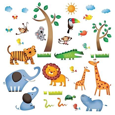Decowall DW 1206 Animaux Jungle Sauvages Autocollants Muraux Mural Stickers  Chambre Enfants Bébé Garderie Salon