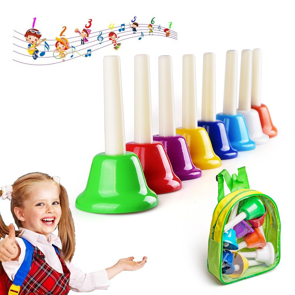 Colorful Hand Percussion Bells, 8 Note Diatonic Metal Hand Bell Kit with Carry Bag for Toddler, Kid, Adults, Used for Festival, Musical Teaching, Church Chorus, Wedding, Family Party