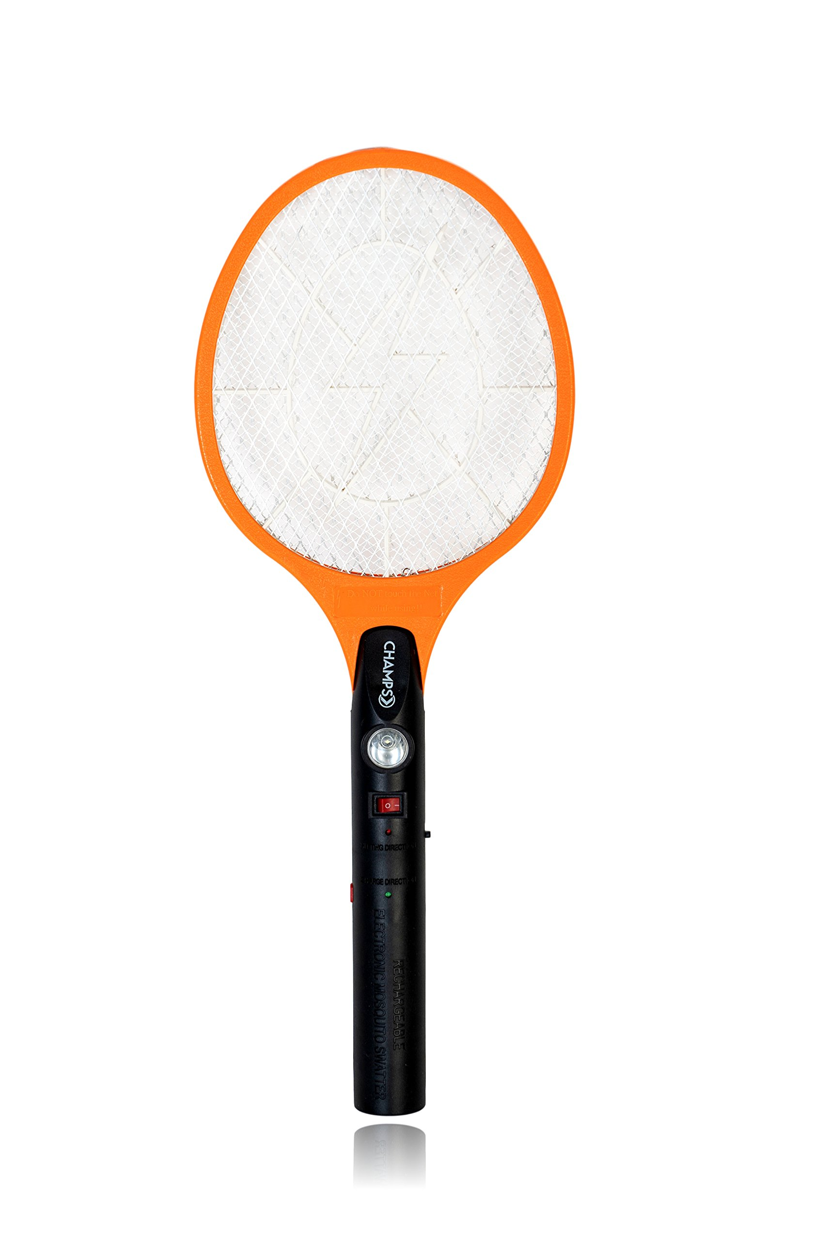 Champs Bug Zappers Electric Rechargeable Mosquito, Fly Killer and Bug Zapper Racket, 3000 Volt, Wall Plug Charge, For Indoor Outdoor Use