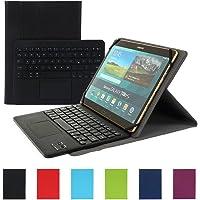 Besmall Wireless Touch Bluetooth Drahtlose Tastatur mit QWERTZ Tastaturlayout für Android Windows Tablet Smartphone(Mit PU-Hülle,Schwarz)