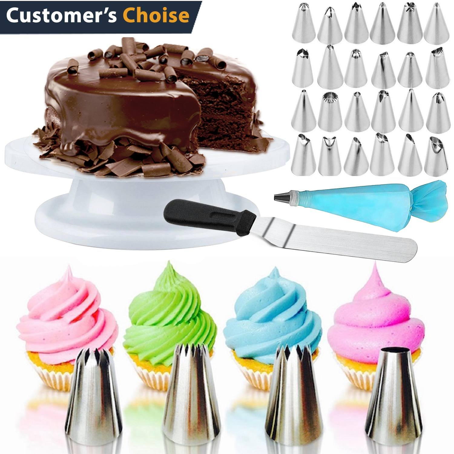 Cake Decorating Supplies 55 pcs -24 Icing Tips, 1 Cake Turntable, 1 Pastry Bag, 1 Couplers, 1 Spatulas, 1 Flower Lifter, 1 Brush, 1 Cake Pen, 1 Fondant Smoother, 3 Cake Scrapers, 20 Disposable bags