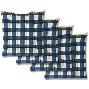 Sweet Home Collection Chair Cushion Seat Pads Indoor/Outdoor Printed Tufted Design Soft and Comfortable Covers for Dining Rooms Patio with Ties for Non Slip, 4 Pack, Buffalo Check Navy
