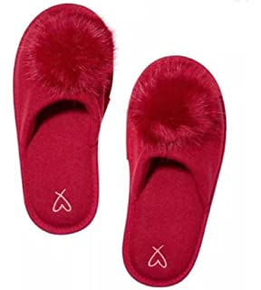 Victorias Secret Pom Pom Pretty Red Slippers - Medium ...