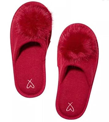7d7bdefd792 Image Unavailable. Image not available for. Color  Victoria s Secret Pom Pom  Pretty Red Slippers ...