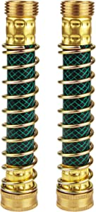 LAVAED 2 Pack Garden Hose Extension Connector, Hose Spring Kink Protector,Flexible Water Faucet Adapter