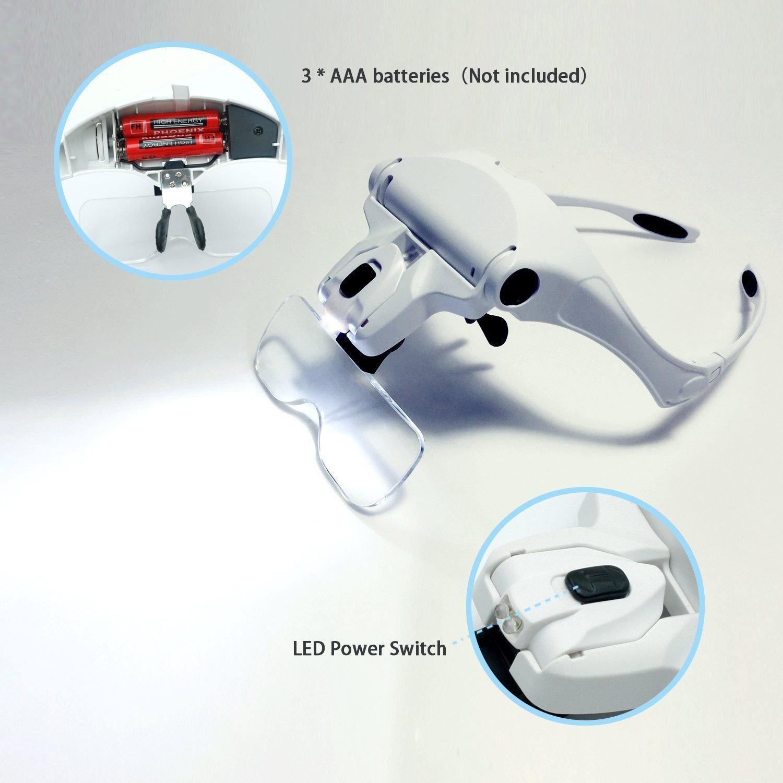 BeautyU Me Headband LED Illuminated Head Magnifier Visor Magnifying Glass Lens LED Light Lamp Visor Head Loupe for Reading Jewelry Loupe Watch Electronic Repair