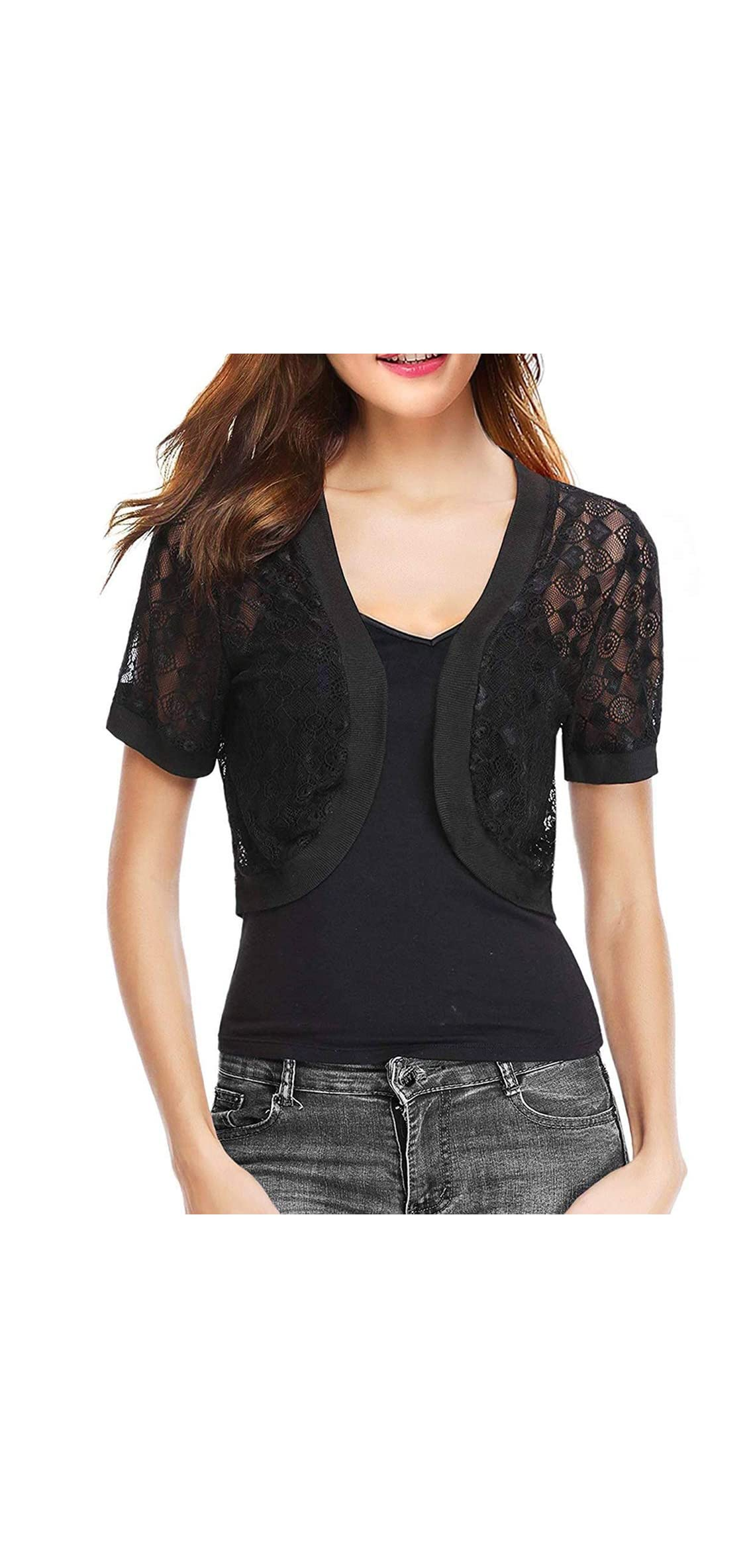 Womens Lace Shrug Short Sleeve Sheer Bolero Cardigan For Women