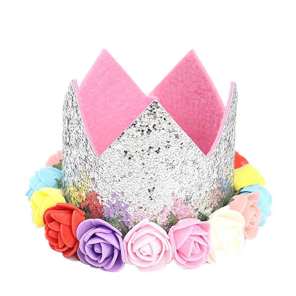 SLHP Couronne florale dorée pour bébé, pour fête d'anniversaire E