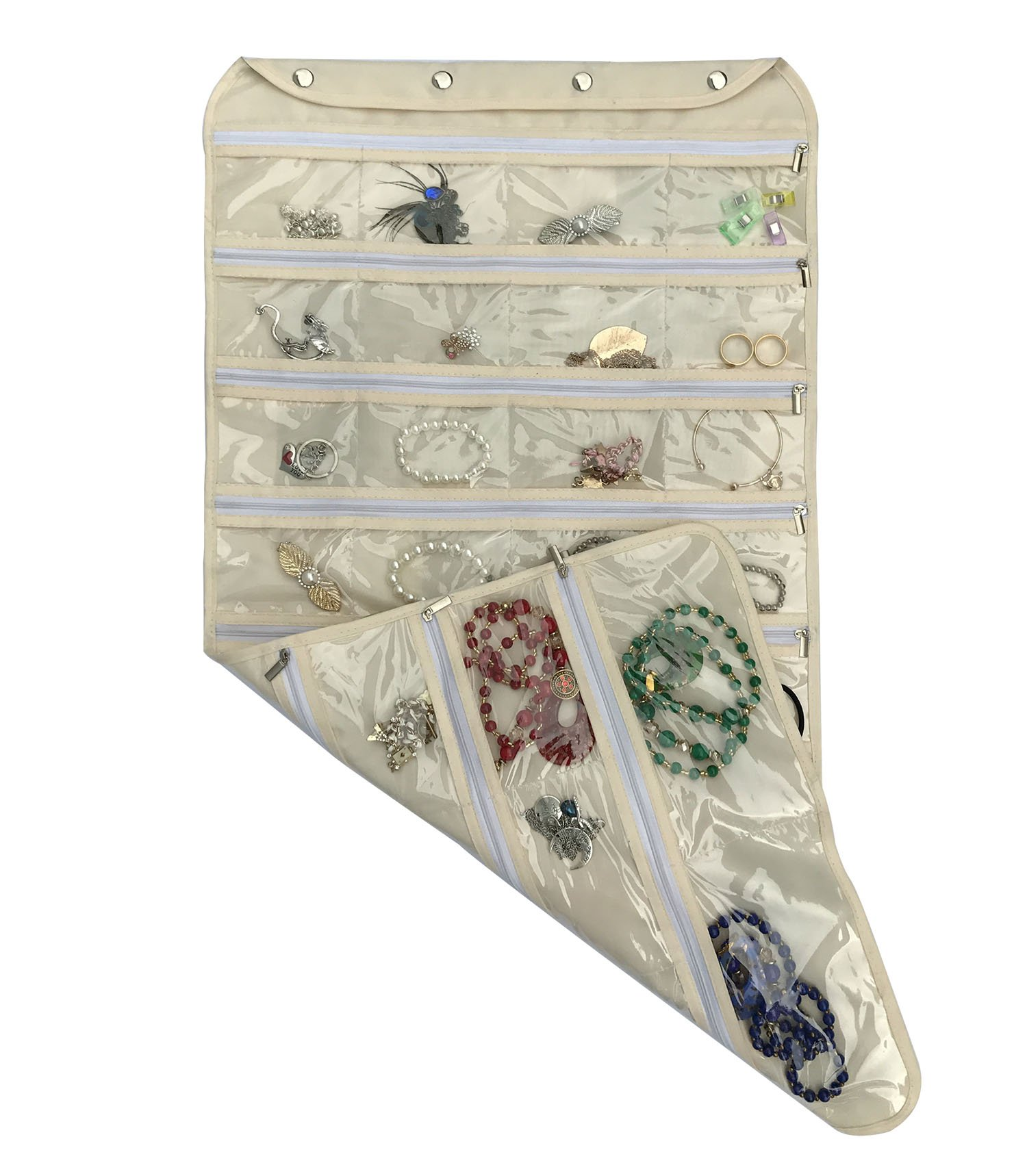 brotrade Hanging Jewelry Organizer with Oxford Dual Side 56 Zippered Storage Pocket