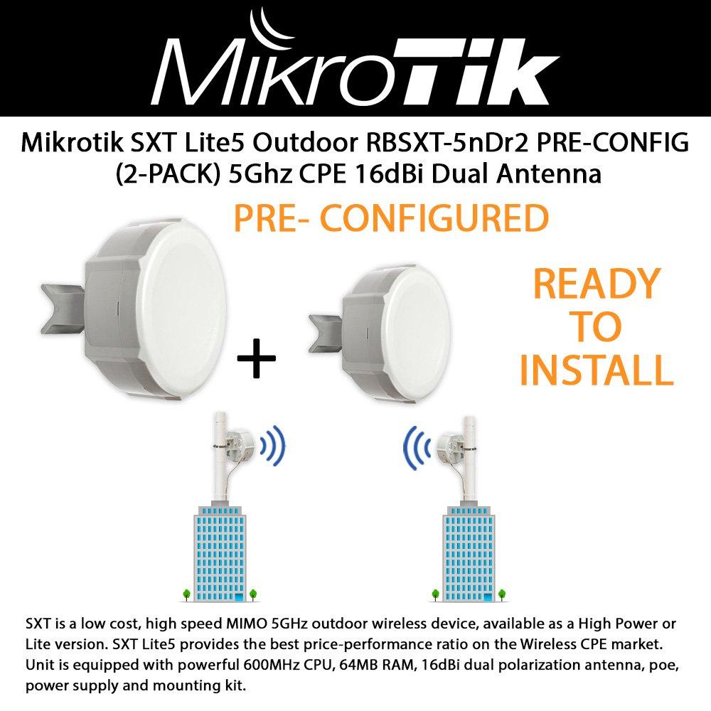 Mikrotik SXT Lite5 RBSXT-5nDr2 (2-PACK) Outdoor Wireless Device, 5Ghz CPE 16dBi Dual Polarity Antenna, OSL3PRE-CONFIGURED / READY TO INSTALL