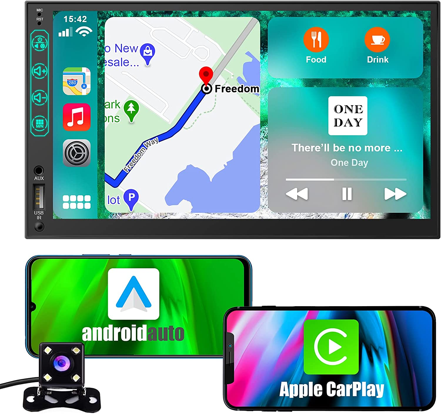 AVBONG Car Stereo Compatible with Apple Carplay and Android Auto, 7-inch Double Din Car Radio, Supports for Bluetooth/Touch Screen/Reversing Camera/Navigation/Voice Assistant/AM/FM/Music