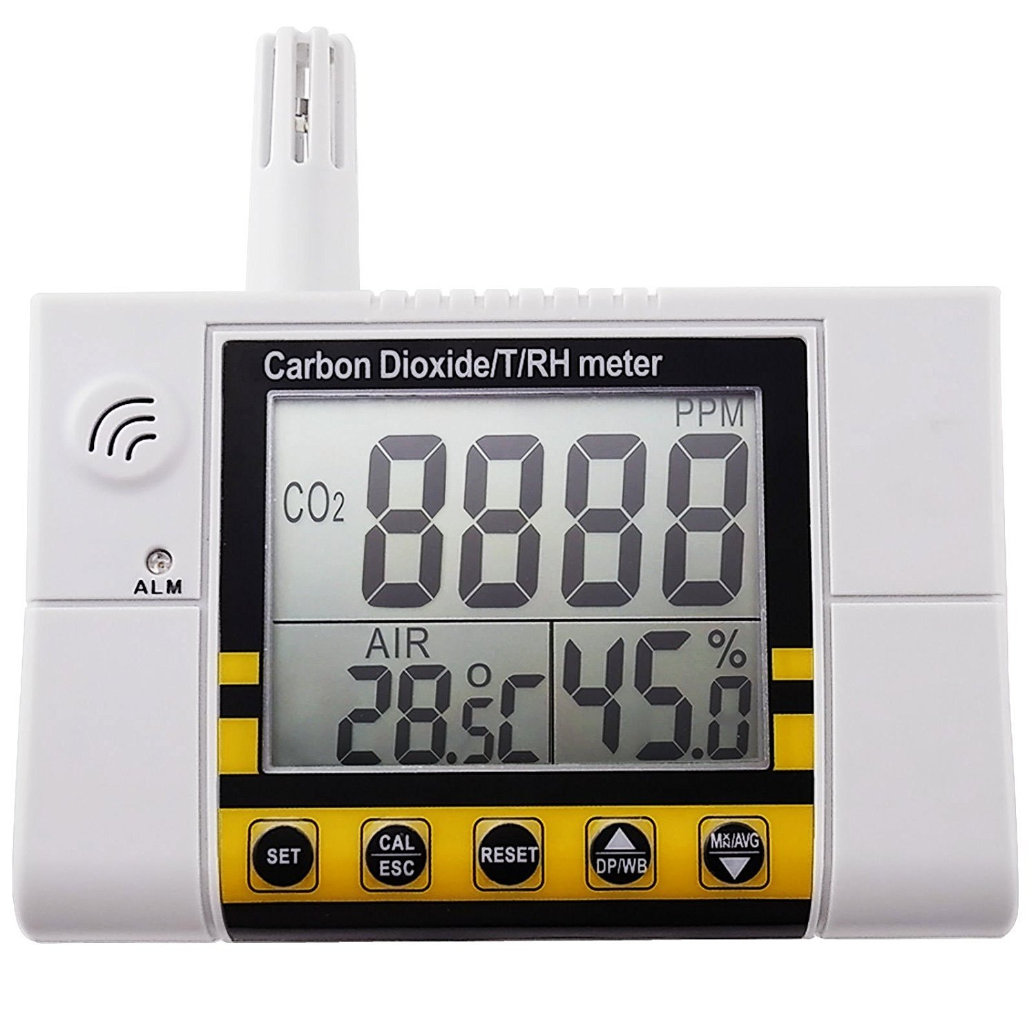 Carbon Dioxide/ Temperature/ Humidity Air Quality Monitor Meter,Wall Mountable CO2 Detector , RH Indoor Air Quality IAQ Sensor, 0~2000ppm Range