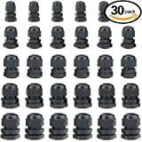 Hilitchi 30 Piece Nylon Plastic Waterproof Adjustable 3.5-13mm Cable Glands Joints Cable Gland - PG7, PG9, PG11, PG13.5, PG16