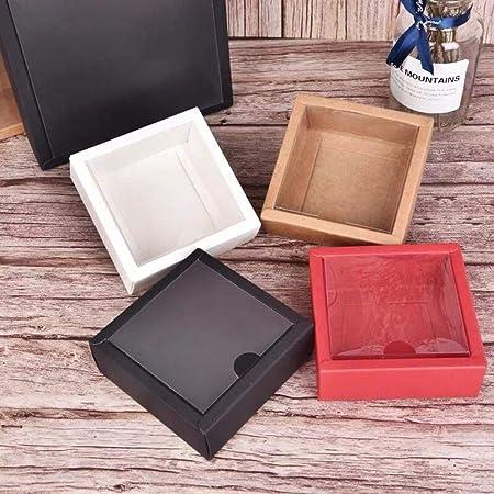 Caja de Regalo de Papel Kraft de Color Negro, 10 Unidades, Caja de Regalo Grande, Caja de cartón con Tapa de PVC, Caja de cartón para Fiesta de Boda, Rojo, 11.5x11.5x5.5cm: Amazon.es: