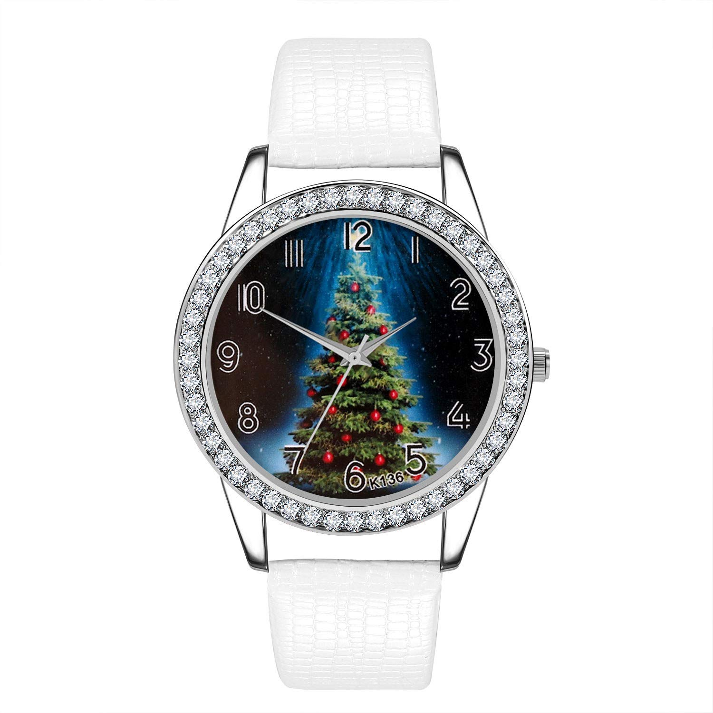 Amazon.com : LtrottedJ Women Watch Christmas Diamond Leather ...