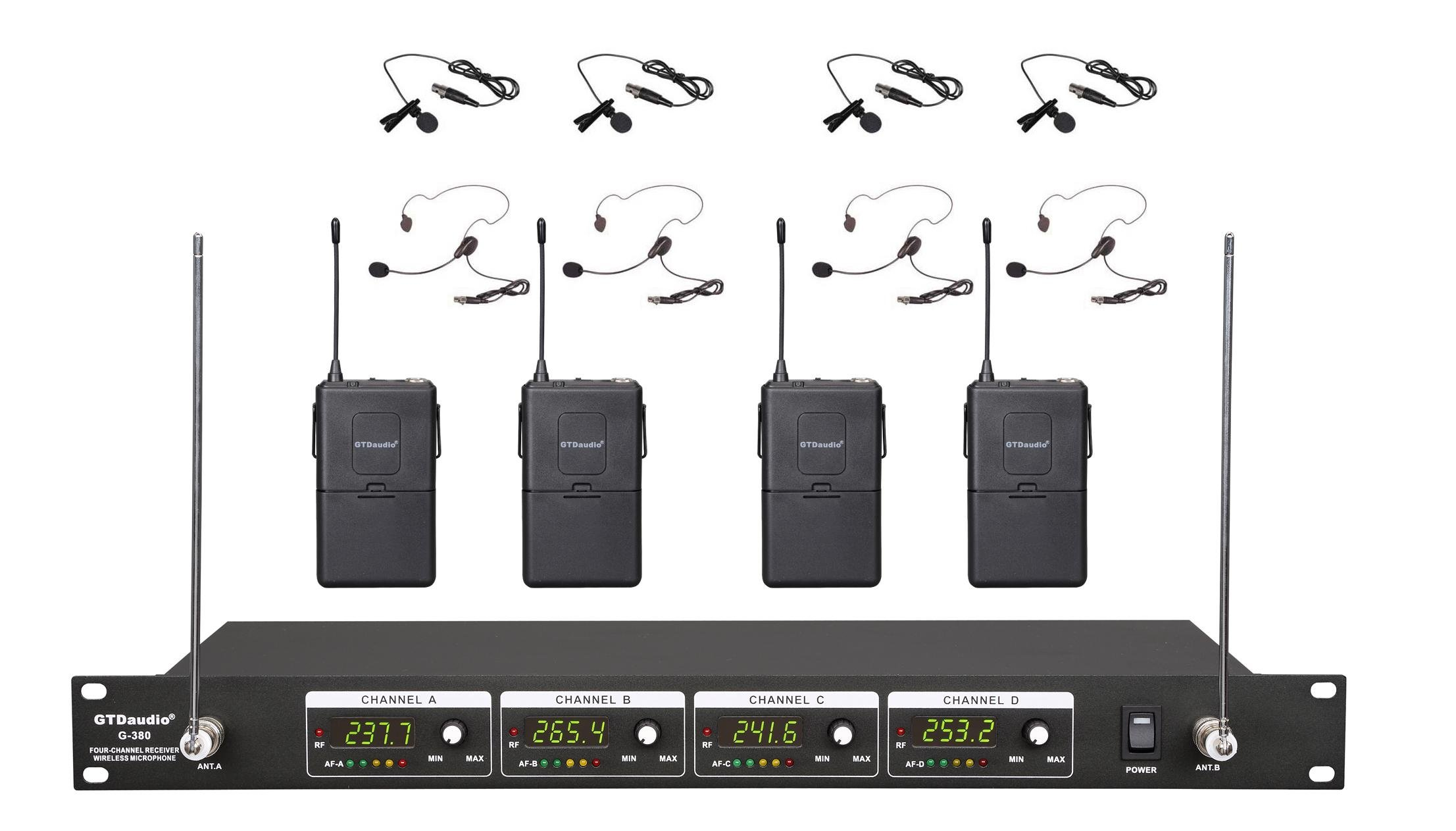 GTD Audio G-380L VHF Wireless Microphone System with 4 Headset, Lavalier (Lapel) mics