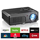 "LED WiFi Projector HD 1080P, 4200 Lumen Home Theater Video Projector Android Wifi LCD TFT Display 200"" with HDMI USB Audio VGA for Gaming Laptop iPad Smartphone Apple TV Chromecast-50,000hrs Lamp Life-time"
