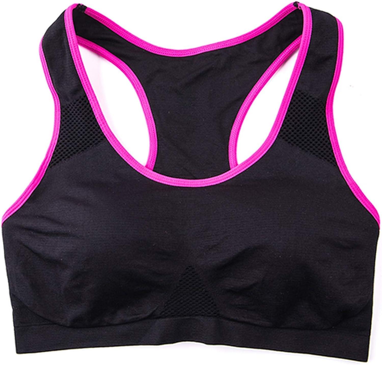 Women Sports Running Bra Fitness Top Crop for Gym Workout Bra Seamless Underwear Vest,Black,XL,30