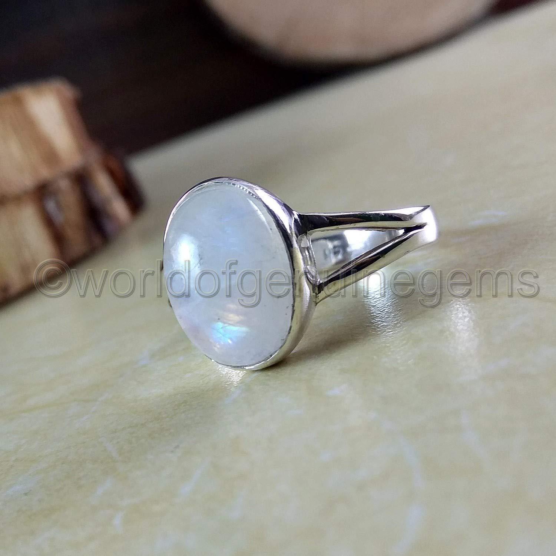 Moonstone 925 Sterling Silver Ladies Round Designer Ring Gemstone Jewellery Gift