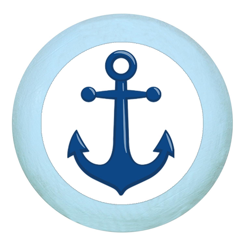dunkelblau Kinder Kinderzimmer Anker dunkelblau maritim T/ürknauf M/öbelknauf M/öbelknopf M/öbelgriff Jungen hellblau dunkelblau blau Massivholz Buche