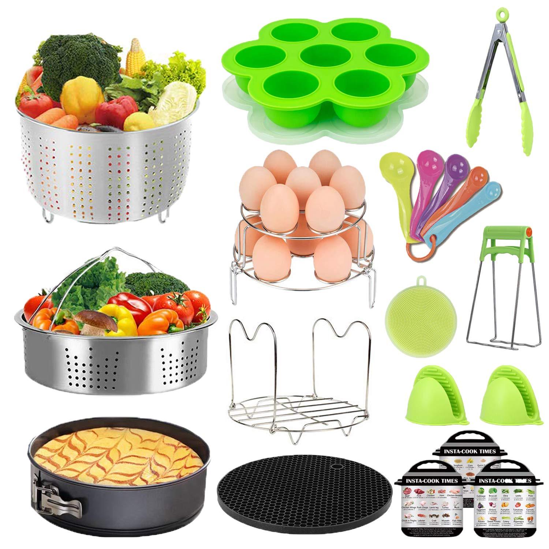 Pressure Cooker Accessories Set - Fit Instant Pot 6 qt 8 Quart, Include Steamer Basket, Springform Pan, Stackable Egg Steamer Rack, Egg Bites Mold, Oven Mitts & More/Instapot accessory