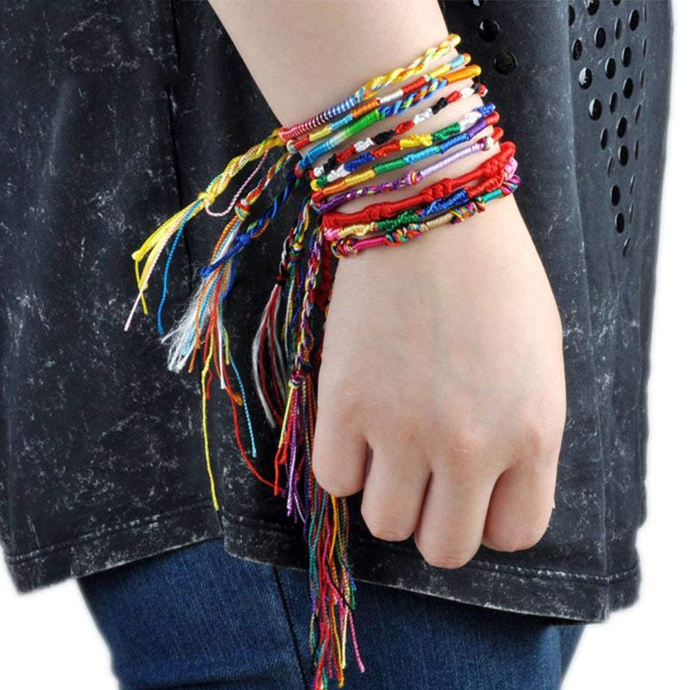 HAKACC Friendship Bracelet, 50pcs Colorful Braid Friendship Cords Wrist Bracelet Random Color Gift for Girls